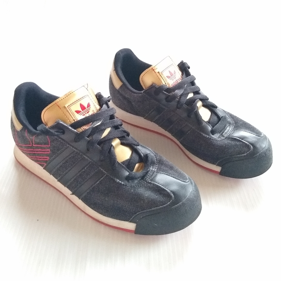 Adidas Samoa Black Gold Retro Sneakers